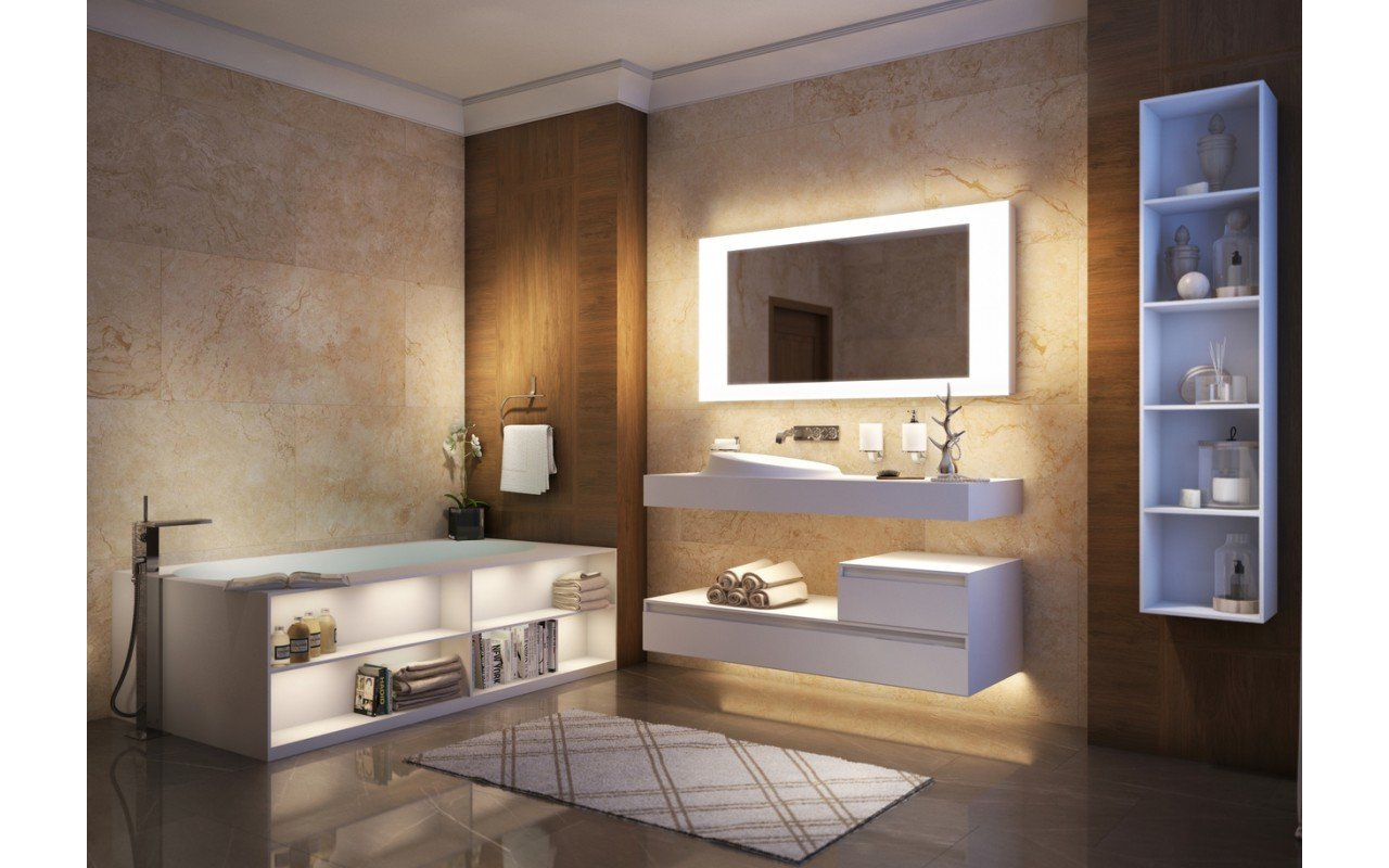 The Aquatica Storage Lovers Freestanding Solid Surface Bathtub