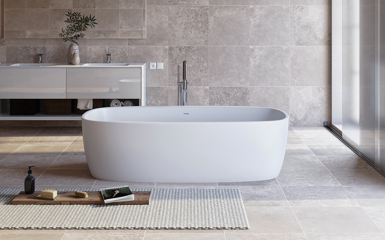 Aquatica Coletta™ White Freestanding Solid Surface Bathtub