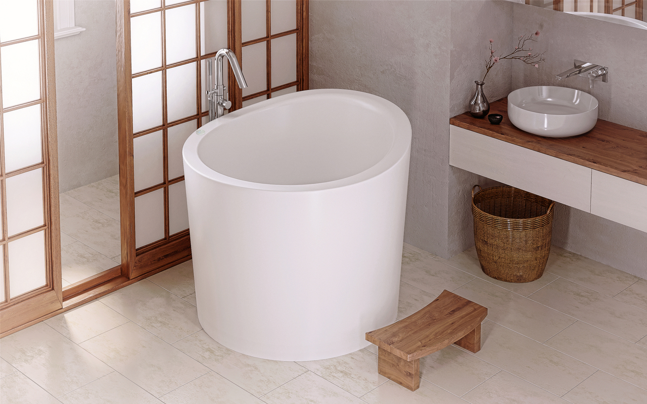 Aquatica True Ofuro Mini Tranquility Heated Japanese Bathtub (230V ...