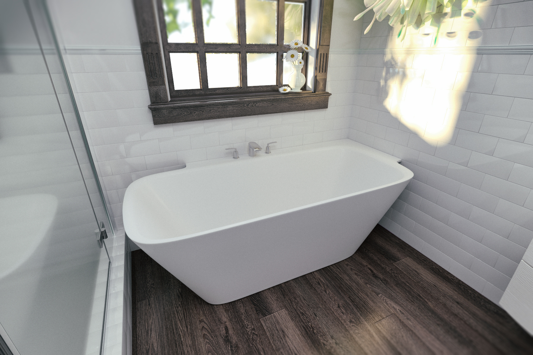 Aquatica Arabella-L-Wht™ Large Corner Solid Surface Bathtub