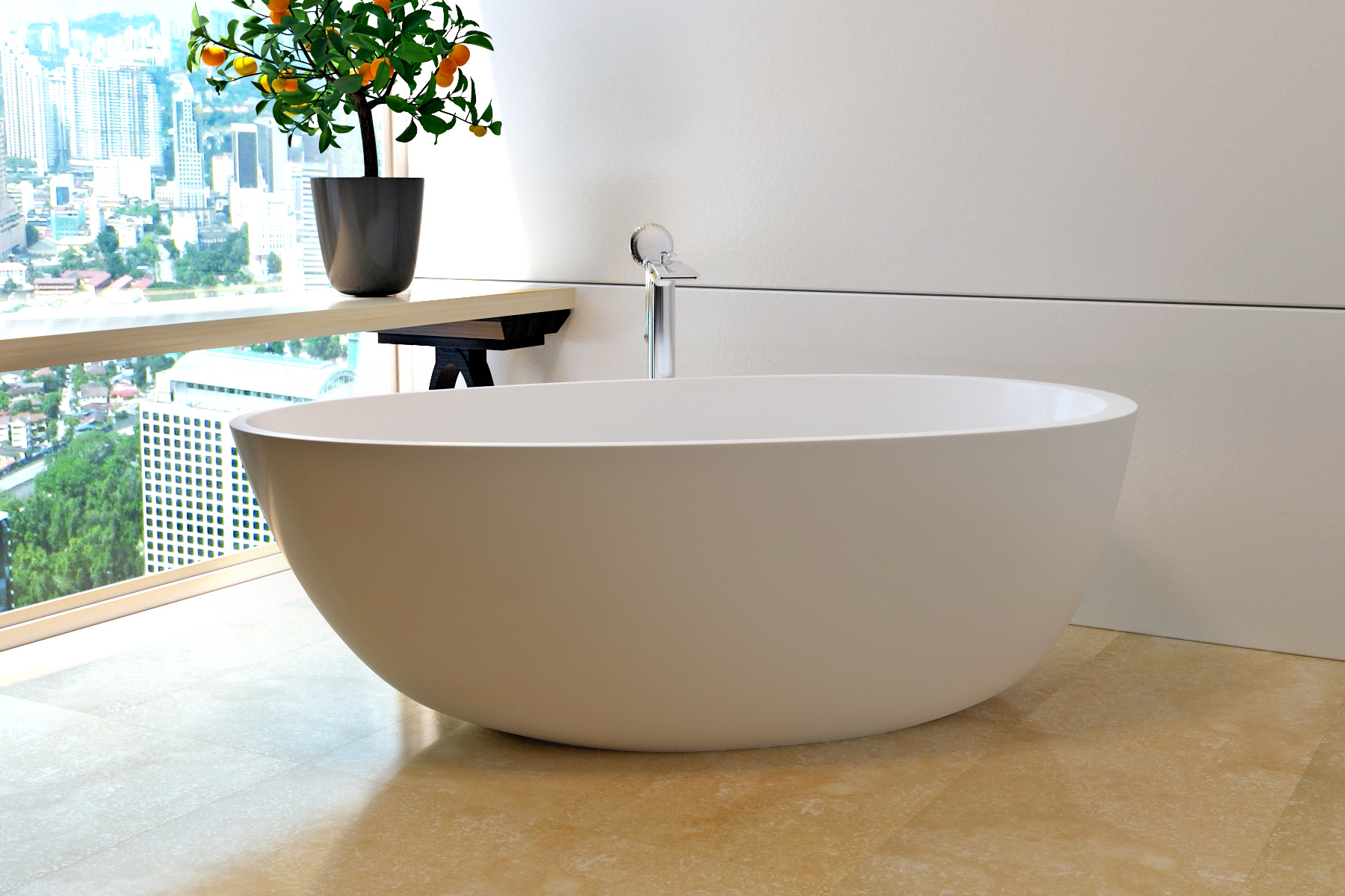 Beau Aquatica Spoon 2 (Purescape 204AM) Egg Shaped Freestanding Solid Surface  Bathtub